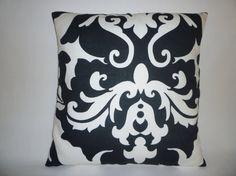 Funky Retro Black White Damask Designer Cushion by WickedWalls, $14.50