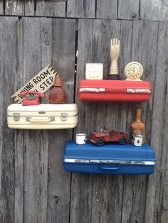 Vintage Trio of Red, White & Blue  Upcycled Suitcase Luggage Wall Shelf Shelves Repurposed Travel Inspired on Etsy, $175.00