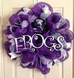 Game Day Deco Mesh Wreath by SimplyChicDesignsbyC on Etsy Wreath Crafts, Diy Wreath, Burlap Wreath, Wreath Ideas, Purple Wreath, White Wreath, School Wreaths, Sports Wreaths, Football Wreath