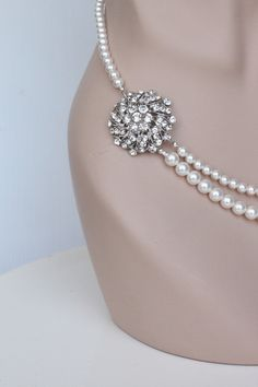 Wedding Jewelry Set, Bridal Pearl Jewelry Set. Earrings Necklace Set. Vintage Style Wedding Jewellery Set. Pearl Rhinestone Bridal Set