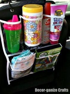 Dollar Store Car Organizer -- great idea! Because the toys all over the floor of the car are driving me crazy!