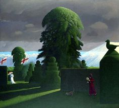 Presentiment by British Contemporary Artist David Inshaw Contemporary Landscape, Landscape Art, Landscape Paintings, Landscapes, Magic Realism, Irish Art, Collaborative Art, Illustration Art, Landscape Illustration