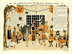 Hey hey, Halloween is coming! If you've come across those black-and-orange illustrations of Halloween costumes, chances are you were l. Retro Halloween, Spooky Halloween, 1920s Halloween Costume, Vintage Halloween Images, Holidays Halloween, Happy Halloween, Halloween Decorations, Halloween Drawings, Mardi Gras