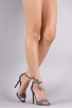 7748e984bff Qupid Suede Ankle Strap Stiletto Heel