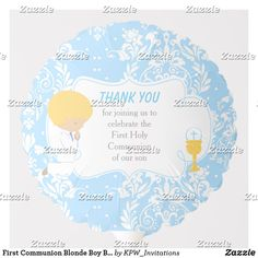 Shop First Communion Blonde Boy Blue Damask Balloon created by KPW_Invitations. Helium Gas, First Communion Invitations, Custom Balloons, Blonde Boys, Boy Blue, Invitation Design, Damask, Boy Or Girl, Centerpieces