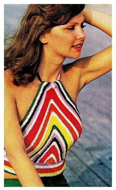 Vintage 70's Crochet Chevron-Striped Halter Top por KinsieWoolShop