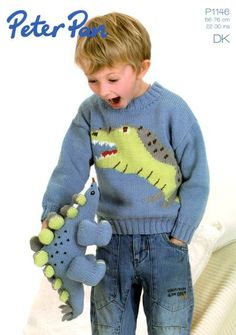 Crochet Toys For Boys Jumper and Dinosaur Toy in Peter Pan DK - Jumper with Tyrannosaurus Rex design and a Stegosaur toy; this pattern is must-have knit for all those with a young dinosaur fan in their life! Try it with: Peter Pan DK See more See less Knitting Patterns Boys, Jumper Knitting Pattern, Jumper Patterns, Knitting Wool, Knitting For Kids, Free Knitting, Double Knitting, Wool Yarn, Crochet Yarn