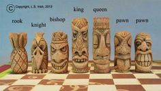 Tiki Chess Set by Lora Irish I will learn to carve someday :)