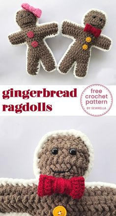 These gingerbread ragdolls are some of the cutest holiday plushies I've ever seen! Knitting Designs, Crochet Designs, Knitting Patterns, Cute Sewing Projects, Crochet Projects, Cute Crochet, Crochet Yarn, Yarn Inspiration, Easy Crochet Patterns