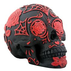DOD Red and Black Sugar Skull [8224S] - $21.99 : Mystic Crypt, the most unique, hard to find items at ghoulishly great prices!