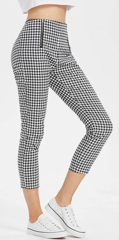 Hot crop pants Gingham High Waisted Slacks Ankle Pants you need to try Style: Fashion Material: Cotton Waist Type: High Fit Type: Regular Pattern Type: Plaid Pant Style: Pencil Pants Closure Type: Zipper Fly Leggings Fashion, Fashion Pants, Fashion Outfits, Style Fashion, Plaid Pants, Cropped Pants, Gingham Pants, Patterned Pants, Blue Pants
