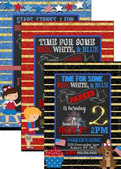 July 4th birthday party invites july 4th by CustomPrintablesNY