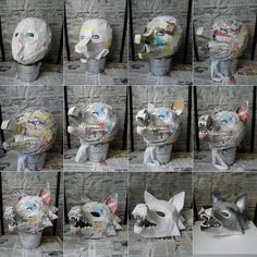 Faschingsmasken aus Pappmache basteln – Wolf Maske Make carnival masks from paper mache – wolf mask Making Paper Mache, Paper Mache Mask, Cosplay Tutorial, Cosplay Diy, Halloween Cosplay, Halloween Costumes, Wolf Maske, Mascara Papel Mache, Wolf Costume