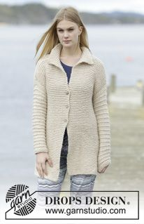 """Knitted DROPS jacket in garter st with collar and vent in """"Cloud"""". Size: S - XXXL. ~ DROPS Design"""