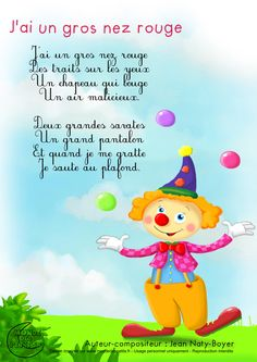 Paroles_J'ai un gros nez rouge French Poems, French Nursery, Material Didático, Rhymes Songs, Help Teaching, French Lessons, Teaching French, Learn French, French Language