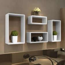 4 Retro Wall Cubes Floating Shelves Stand Storage Display Uni Bookcase White