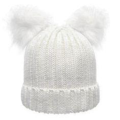 ebf817d90c2 Double Faux Fur Pom Pom Beanie Hat – IWISB Winter Hats For Women