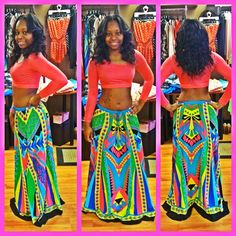 Multi Abstract Skirt  Scoop Back Cropped Top. via @polishedfashion