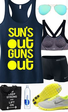 Awesome #Summer #Workout Gear! Featuring a SUN'S OUT GUNS Out Tank Top Racerback. #Crossfit & #Gym shirts by NobullWomanApparel, $24.99 on Etsy. Hurry to get yours for SUMMER! Click to buy https://www.etsy.com/listing/189409328/suns-out-guns-out-tank-racerback-workout?ref=shop_home_active_15