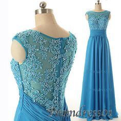 #promdress01 prom dress - elegant round neck short sleeve blue lace chiffon long prom dress for teens, custom made ball gown
