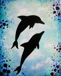 Dolphins 8x10 Original acrylic painting on a by LeahRoseKingArt