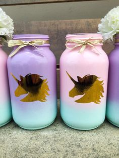 How cute are these?  Unicorn mason jars!