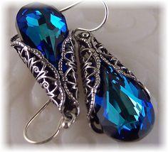 New Swarovski Bermuda Blue Crystal Vintage by HisJewelsCreations, $40.00