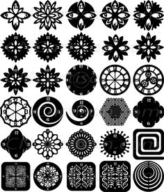 IT IS MAGIC ELEMENTS OF YOUR FURNITURE AND HOME DECOR. THESE FILES CONTAIN COLLECTION OF 30 WALL CLOCK BASE ORNAMENTED DESIGNS WITH SMALL HOLE AS A GUIDE TO INSTALL THE CLOCK HANDS ILLUSTRATED IN DECORATIVE VIEW AND DELIVERED IN DXF FILES CUT READY CNC DESIGNS. ALL OUR DXF DESIGNS ARE READY FOR MOST CNC CUTTING MACHINE AND DESIGNED TO BE CUT FOR PLASMA AND LASER CUTTERS AND CAN BE SCALED FOR ANY OTHER CNC MACHINE SUCH AS WATER JET CUTTERS TO ANY SIZE TO FIT YOUR DESIGN NEEDS.