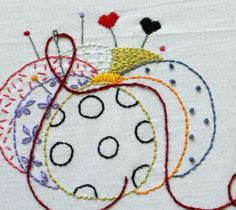 Lovely embroidery patterns by Three Kitchen Fairies. I could take up embroidery. Silk Ribbon Embroidery, Hand Embroidery Patterns, Embroidery Applique, Cross Stitch Embroidery, Machine Embroidery, Embroidery Designs, Bordados E Cia, Embroidery Techniques, Pin Cushions