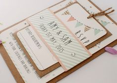 Peach and mint wedding invitation bunting gem by normadorothy