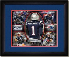 Your Name on a Patriots jersey as the #1 Draft Pick, with other football star players of your favorite NFL team, Framed Poster
