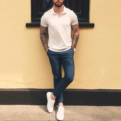 White polo and sneakers with a blue chino  by @chezrust [ http://ift.tt/1f8LY65 ]