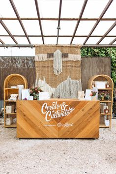 Natural boho vibes with rattan and warm accents at the SXSW event hosted by Create & Cultivate