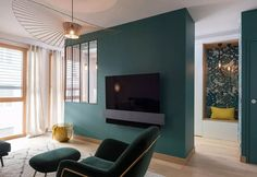 Ein multifunktionaler Salon in Lyon, Home Salon, Interior Decorating, Interior Design, Small Apartments, House Colors, Sweet Home, New Homes, Room Decor, House Design