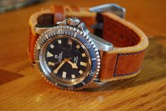 blue faced brown leather watch - Google Search