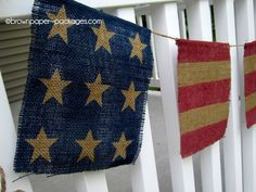 Fourth of July: Stars  Stripes Burlap Bunting {with detailed tutorial}