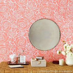 Damask Stencil Rockin' Roses Modern Flower Wall Stencil Pattern for Painting - Royal Design Studio Damask Wall Stencils, Stencil Painting On Walls, Large Stencils, Stenciling, Flower Stencils, Craft Stencils, Large Wall Stencil, Bird Stencil, Faux Painting