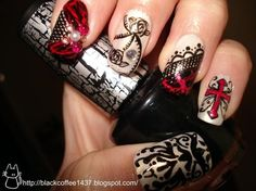 Damask & lace nails
