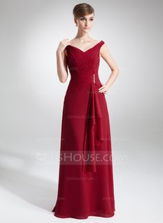 A-Line/Princess Off-the-Shoulder Floor-Length Chiffon Dress With Beading Cascading Ruffles (008005640) - $124
