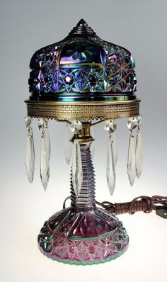 Fenton Art Glass Plum Carnival Innovation Daisy Amp Button