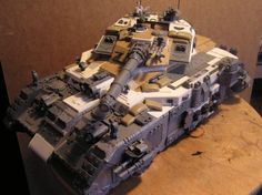 Many, many, Land Raiders died to make Thor, the biggest Space Marine Tank? Come see this Astartes Super Heavy! Warhammer 40000, Orks 40k, Thor, Space Marine, Warhammer 40k Space Wolves, Warhammer Models, Warhammer Games, Warhammer Paint, 40k Imperial Guard