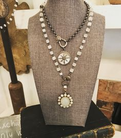 Layered necklaces with moonstone and mother of pearl. Lisajilljewelry@gmail.com
