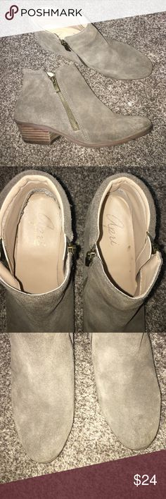 Apri Gravity leather suede booties Used but good condition! They are comfortable to wear.  They have scuff and wear but nothing that takes away from the look. Left boogie has a scratch. See photos for all signs of wear. apri Shoes Ankle Boots & Booties