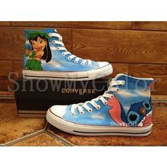 Stitch anime Custom Converse, Lilo and Stitch hand painted shoes, high top Shoes