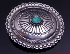 Perry Shorty Navajo Blue Gem Turquoise Sterling Silver Concho Shape Belt Buckle #PerryShorty