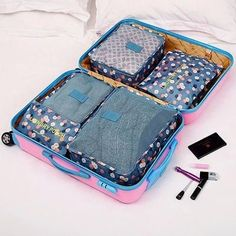 Kawaii Breathable Travel Bag Set Packing Cubes Luggage Packing Organizers with Shoe Bag Carry on Suitcase Storage Bags For Clothes, Bag Storage, Travel Cubes, Travel Bags, Carry On Suitcase, Luggage Bags, Luggage Packing, Travel Luggage, Bag Organization