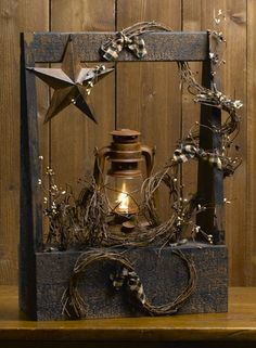 Old lantern turned lamp in a rustic box, love this and I am going to make this! Site has cute country decor for ideas. Rustic Crafts, Country Crafts, Primitive Crafts, Country Primitive, Country Decor, Country Fall, Prim Decor, Rustic Decor, Farmhouse Decor