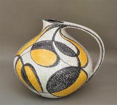 Fifties Ruscha große Vase, Henkelkrug handgemalt