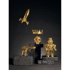 want these soooooo bad - seletti - gold - gun - skull - robot - rocket - crown