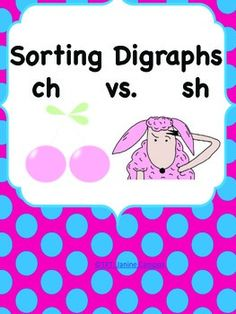 FREE - Digraphs : ch verses sh - A free picture sort. Colorful and ready to print cut and laminate to help reinforce those digraph skills as a center OR to print as word work during class.